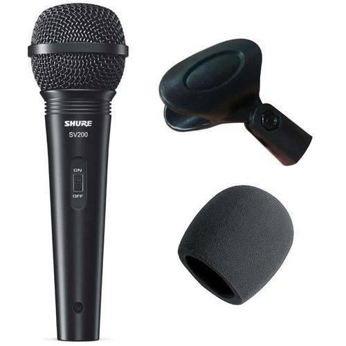 Microfone Shure SV200 + Cabo XLR + Cachimbo + Espuma