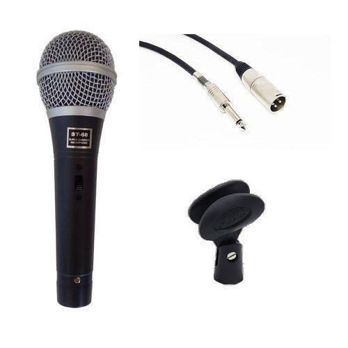Microfone Staner Super Cardióide C/ Cabo e Cachimbo ST-68 - AC1742