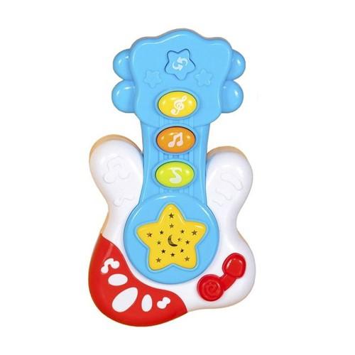 Mini Guitarra Infantil com Som e Luz WB5678 Well Kids Azul Azul