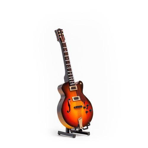 Miniatura Guitarra Semi Acustica com Estojo e Suporte