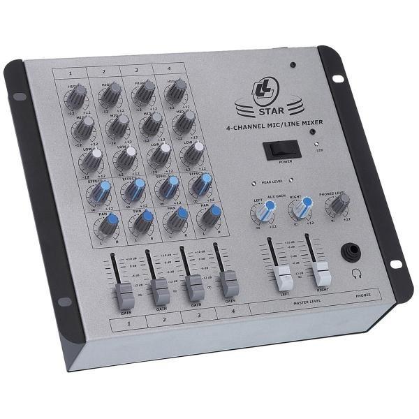 Mixer de Som com Controle de Volume Xlr P10 STAR4 LL Áudio