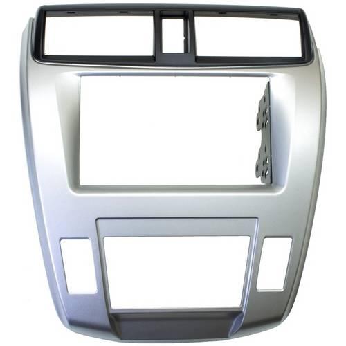 Moldura 2 Din para Honda City 2008 a 2011 Prata e Preta Ar Digital