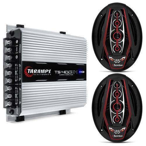 Módulo Amplificador Taramps Ts400 400w Rms + Par Alto Falante Bomber 6x9 350w Rms