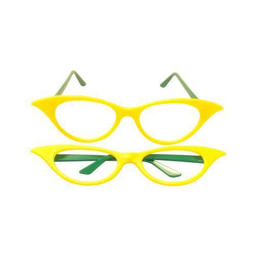 Óculos Gatinha Amarelo e Verde - Pacote com 6 Unidades