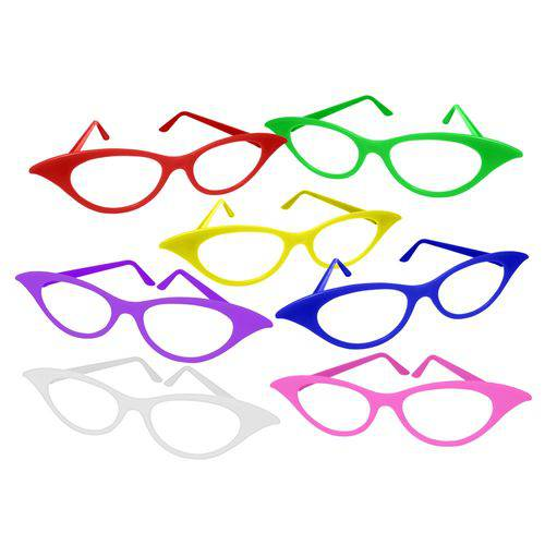 Óculos Gatinha Colorido - Pacote com 6 Unidades