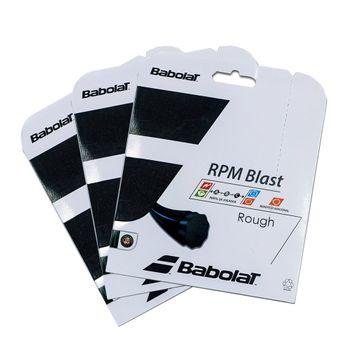 Pack com 3 Cordas Babolat Babolat RPM Blast Rought 125 17 Set Individual Preta