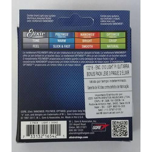 Pack 3 Encordoamentos Elixir Nanoweb 010-046 16542 Guitarra