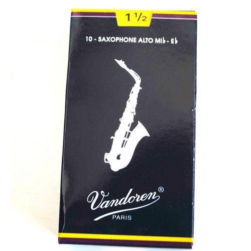 Palhetas para Sax Alto Tradicional Vandoren Sr2115 N°1,5 Caixa com 10 Unidades