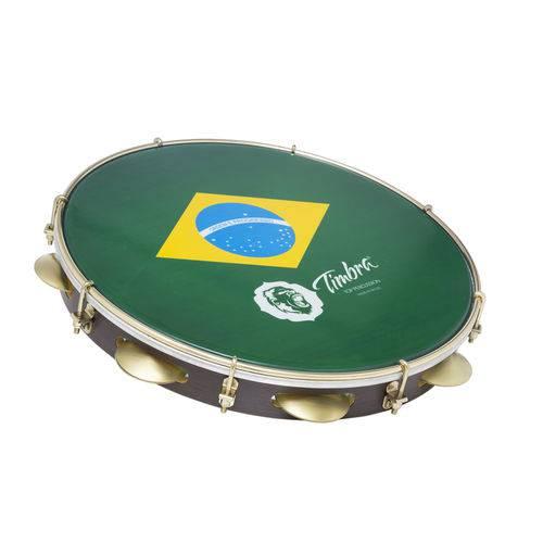 Pandeiro 12 Polegadas Madeira com Aro Dourado Pele Brasil