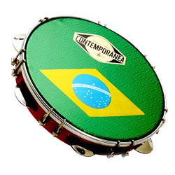 """Pandeiro Fórmica 10"""" Pele Brasil e Aro Vermelho - Contemporânea"""