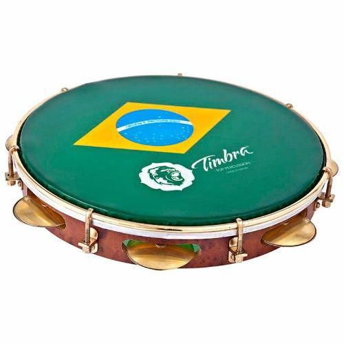 Pandeiro Timbra 10 Profissional Formica Pele Brasil + Capa