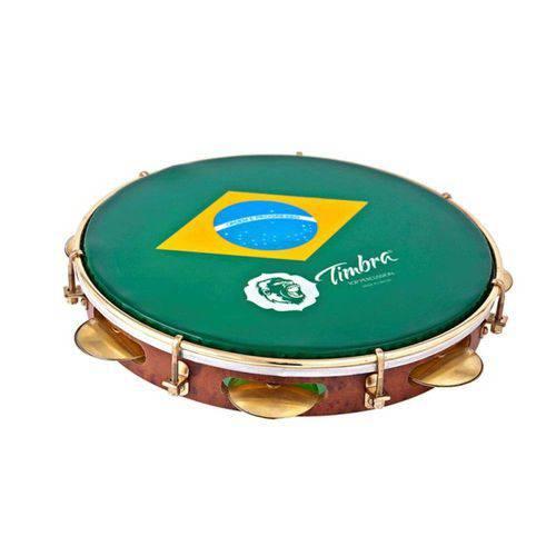 """Pandeiro Timbra 10"""" Formica Aro Dourado Pele Brasil com Capa"""