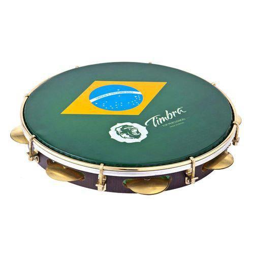 Pandeiro Timbra Brasil 12 Pol Profissional Madeira com Capa