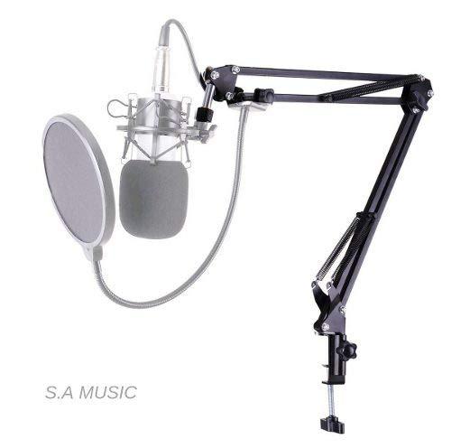 Pedestal Suporte Braço Articulado de Mesa para Microfone de Rádio Estudio Youtuber Podcast Produtores Vídeos e Lives