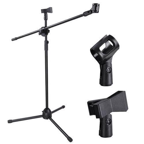 Pedestal Suporte Microfone Metálico Mk-001 Ajustável