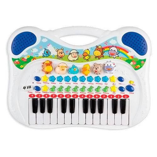 Piano Infantil Musical Animal Azul Braskit 6407