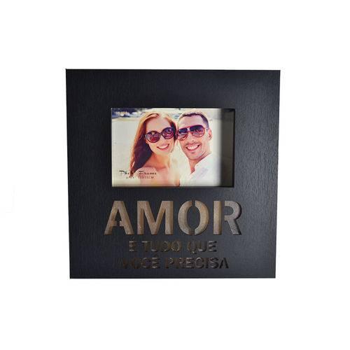 Porta Retrato de Madeira Amor - Led - Preto