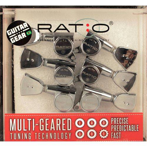 Prn-4341-c0 - Ratio - Tarraxas 3+3 - Botao Vintage - Fix. Parafuso Offset - Cromadas - Graphtech