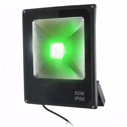 Refletor Holofote Led 50w Slim Luz Verde a Prova Dágua Ip Bivolt