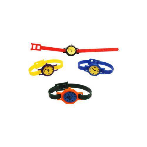 Relógio Pulseira Colorido com Adesivo - Pacote com 5 Unidades