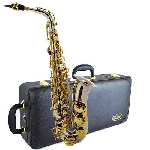 Saxofone Alto Has-25NL Niquelado com Chaves Douradas Hoyden