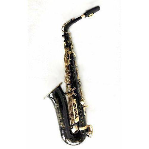 Saxofone Alto Mib Eb Halk Preto com Chaves Douradas