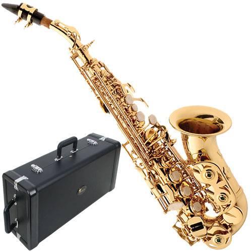 Saxofone Soprano Curvo Sp508 Eagle Laqueado Fá Agudo Si B Articulado com Case Luxo