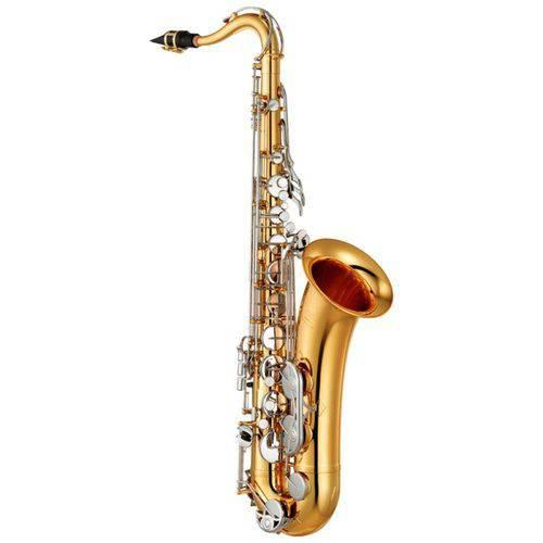 Saxofone Tenor Yamaha Yts26 com Afinação em Sí Bemol Acabamento Laqueado Dourado e Apoio de Polegar