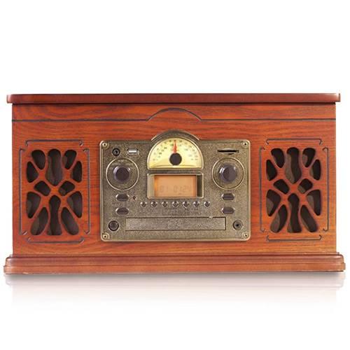 Sistema de Áudio C/ Toca-Discos, AM/FM, Cassete, CD Players, Saída de Áudio, Entrada Auxiliar, Entrada USB e SD Card C/ Gravação - Bravo - CTX