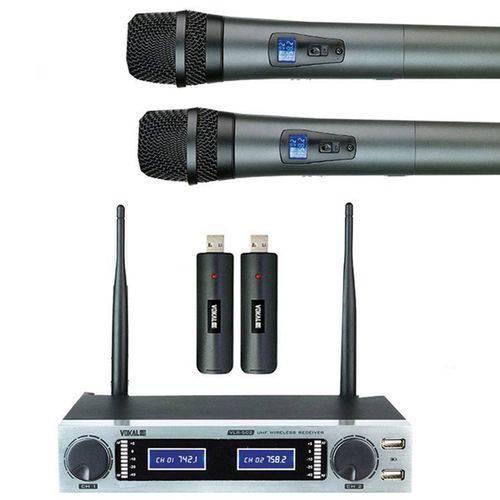 Sistema Microfone Sem Fio Vokal Vlr-502 - Mão Duplo