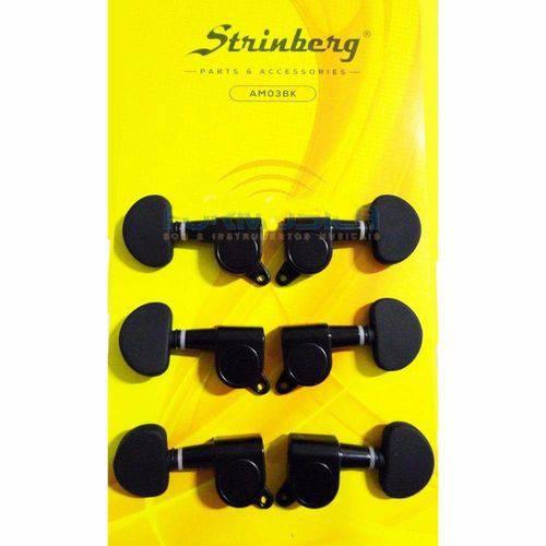Tarraxa para Violão Aço Blindada Preta Strinberg Am03bk