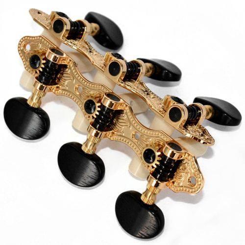 Tarraxas Rozini para Violão Nylon Douradas Botão Escuro Ra405gkpg A2b 3x3