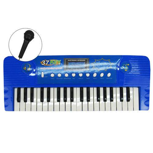 Teclado Eletrônico Musical com Microfone Azul
