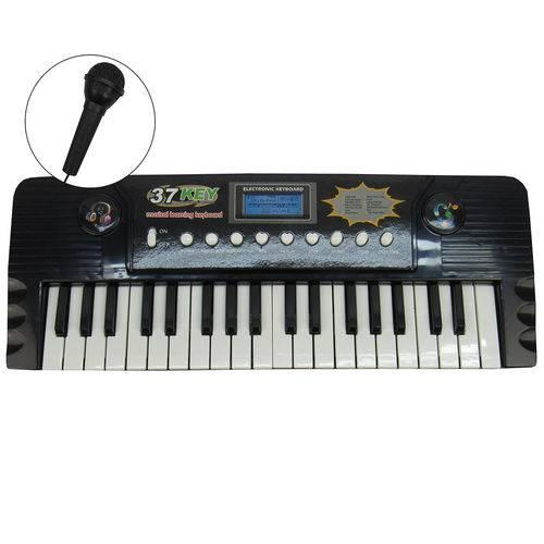 Teclado Eletrônico Musical com Microfone Preto