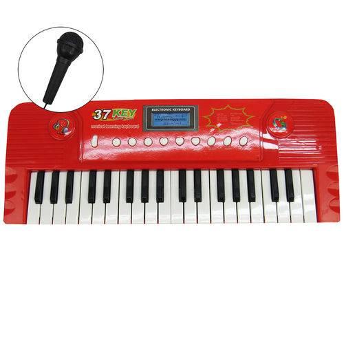 Teclado Eletrônico Musical com Microfone Vermelho