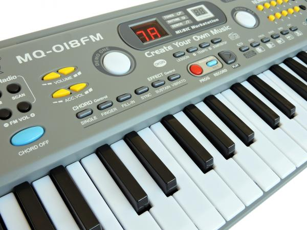 Teclado Infantil Musical 49 Teclas C/microfone - Mq-018fm - Key Black