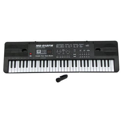 Teclado Infantil Musical 61 Teclas Display Digital com Microfone - MQ 012fm