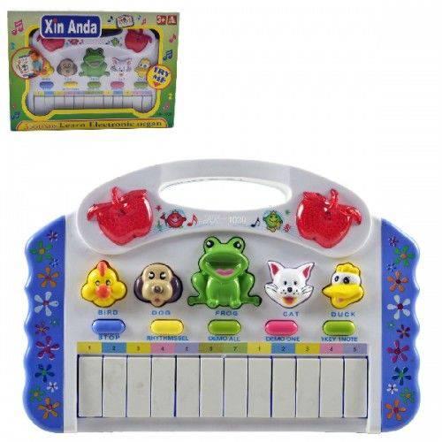 Teclado Infantil Musical com Botões que Imitam Sons de Animais Utiliza 3 Pilhas Aa