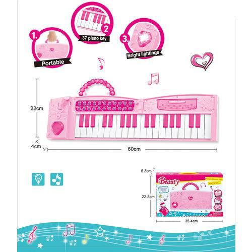 Teclado Musical Dobrável Piano Infantil Rosa - MC18301