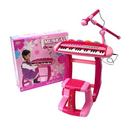 Teclado Piano Infantil Rosa + Microfone + Banquinho Luz Som - Mc18062