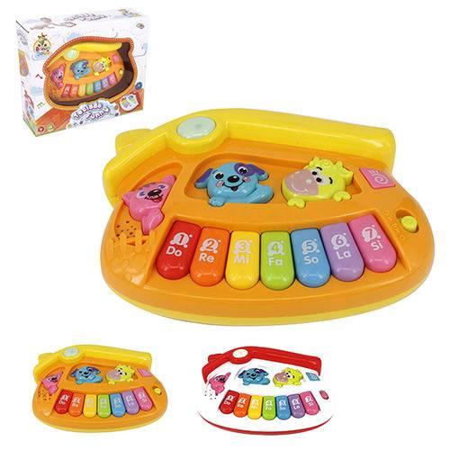 Teclado Piano Musical Infantil Baby Casinha Colors com Luz a Pilha na Caixa Wellkids