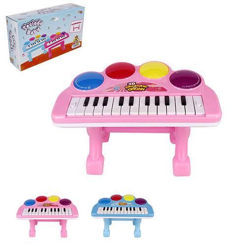 Teclado Piano Musical Infantil Baby Colors com Apoio + Luz a Pilha Wellkids