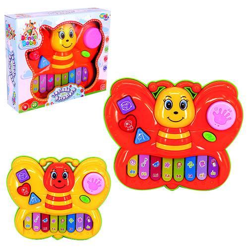 Teclado / Piano Musical Infantil Borboleta Colors com Luz a Pilha