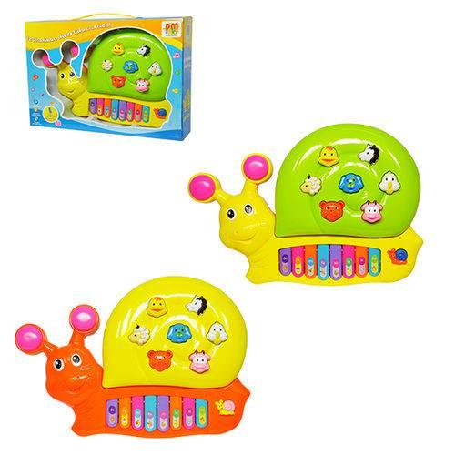 Teclado / Piano Musical Infantil Caracol Colors com Luz a Pilha na Caixa