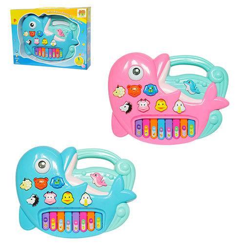 Teclado / Piano Musical Infantil Golfinho Colors com Luz a Pilha