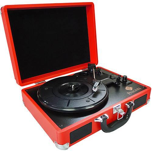 Toca Discos Clássico Formato Maleta Vinil PEL-105A Bluetooth Alto Falantes Internos Vermelho - Pelegrin