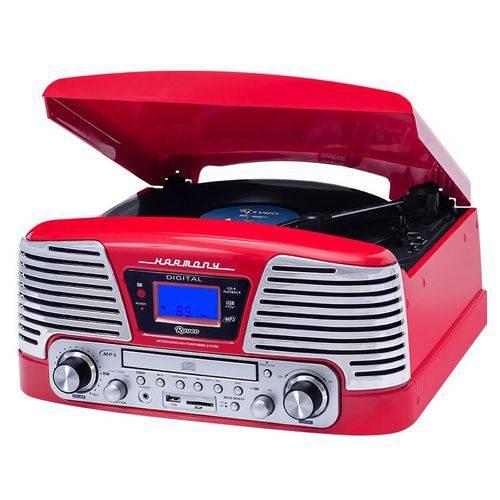 Toca Discos Raveo Harmony Vintage Anos 50 Vermelho Bluetooth