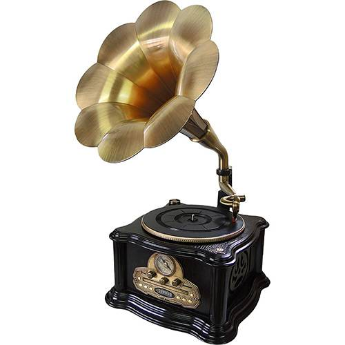 Toca Discos Vinil Clássico Gramofone PEL-013C CD/USB/SD Rádio AM/FM em Madeira - Pelegrin