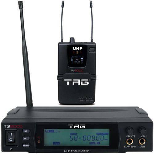 Transmissor com Receptor Bodypack Tagima Tag Sound Tg-9000 Sem Fio Uhf