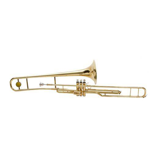 Trombone de Pisto Bb Laqueado Dourado com Case Harlem